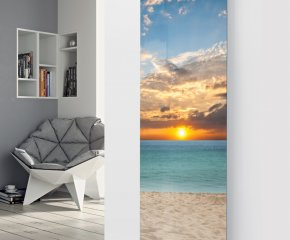 Panio Crystal Glass Picture Designer Radiator P156 SUNSET BEACH Image