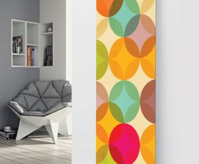 Panio Crystal Glass Picture Designer Radiator P157 MULTI COLOURED CIRCLES IMAGE