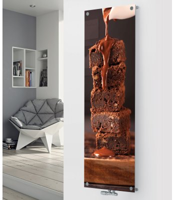 Panio Crystal Glass Picture designer radiator P165 Chocolate Brownie Image
