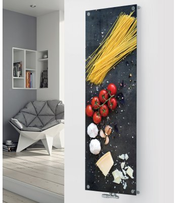 Panio Crystal Glass Picture designer radiator P169 Vine Tomato with Pasta  Image
