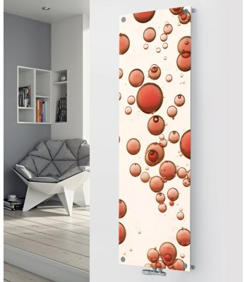 Panio Crystal Glass Picture designer radiator P174 Red Bubbles Image