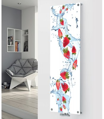 Panio Crystal Glass Picture designer radiator P180 Strawberry SplashImage