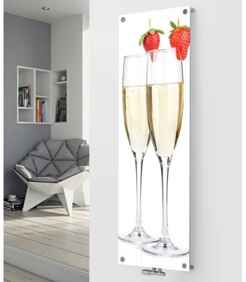 Panio Crystal Glass Picture Designer Radiator P189 TWO CHAMPAGNE GLASSES IMAGE