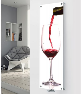 Panio Crystal Glass Picture Designer Radiator P190 POURING RED WINE IMAGE