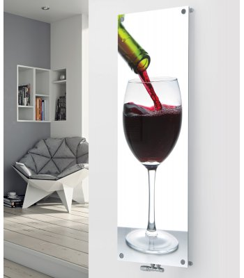 Panio Crystal Glass Picture Designer Radiator P191 POURING RED WINE IMAGE