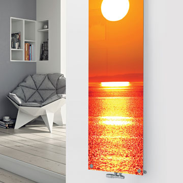 Panio Crystal Glass Picture Designer Radiator P192 WATER SUNSET IMAGE