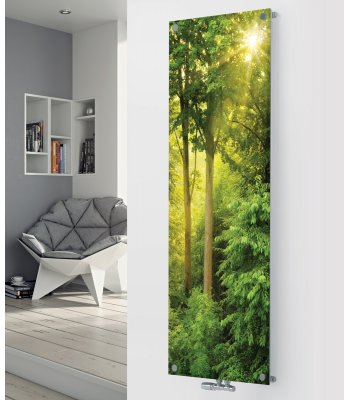 Panio Crystal Glass Picture Designer Radiator P197 SUN LIGHT FOREST IMAGE