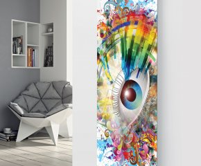 Panio Crystal Glass Picture Designer Radiator P199 COLOURFUL EYE IMAGE