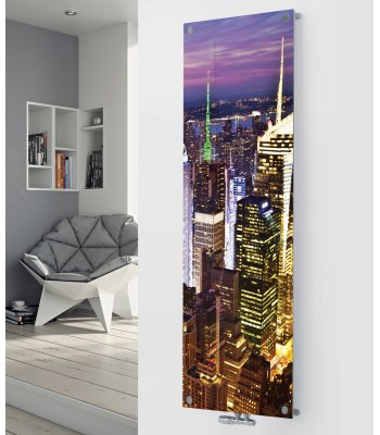 Panio Crystal Glass Picture Designer Radiator P200 NIGHT CITY IMAGE