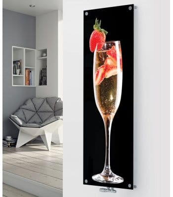 Panio Crystal Glass Picture Designer Radiator P30 Champagne & Strawberries Black