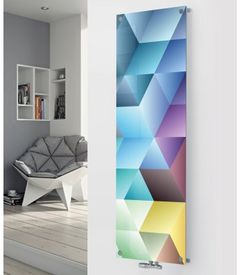 Panio Crystal Glass Picture Designer Radiator P33 Abstract Multi Colour Image
