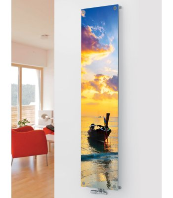 Panio Crystal Glass Picture Designer Radiator P38 Sunset Boat Image