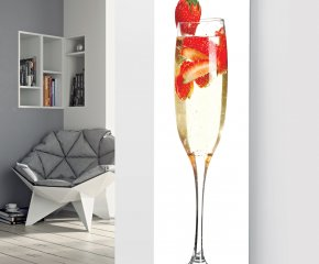 Panio Crystal Glass Picture Designer Radiator P41 Champagne Strawberry Image White