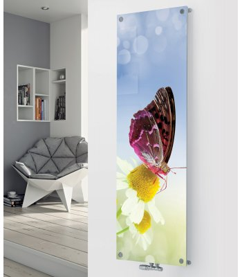 Panio Crystal Glass Picture Designer Radiator P42 Butterfly Image