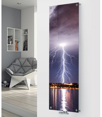 Panio Crystal Glass Picture Designer Radiator P46 Lightening Strike Image
