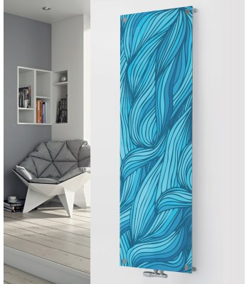 Panio Crystal Glass Picture Designer Radiator P50 Blue Platted Image