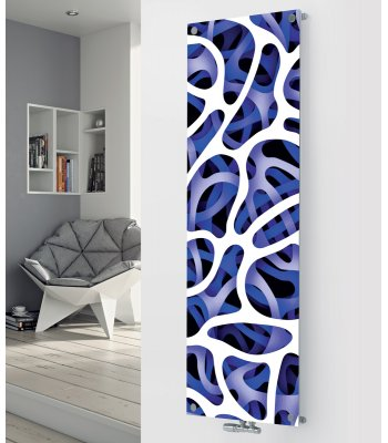 Panio Crystal Glass Picture Designer Radiator P59 Blue Abstract Image