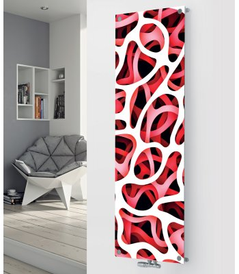 Panio Crystal Glass Picture Designer Radiator P60 Red Abstract Image