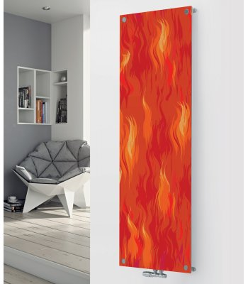 Panio Crystal Glass Picture Designer Radiator P65 Red Fire Image