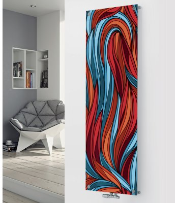 Panio Crystal Glass Picture Designer Radiator P68 Red and Blue Abstract Image