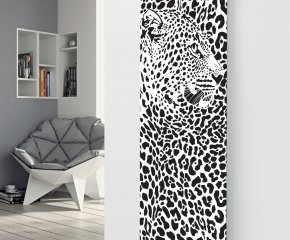 Panio Crystal Glass Picture Designer Radiator P77 Black and White Leopard Image