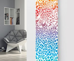 Panio Crystal Glass Picture Designer Radiator P79 Leopard Multi Colour Image