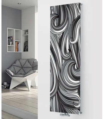 Panio Crystal Glass Picture Designer Radiator P81 Black and White Pattern Image