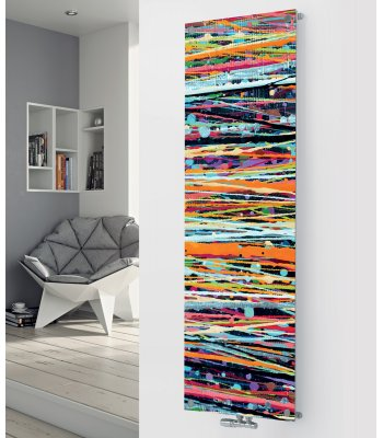 Panio Crystal Glass Picture Designer Radiator P86 Paint Lines and Spots Pattern Image