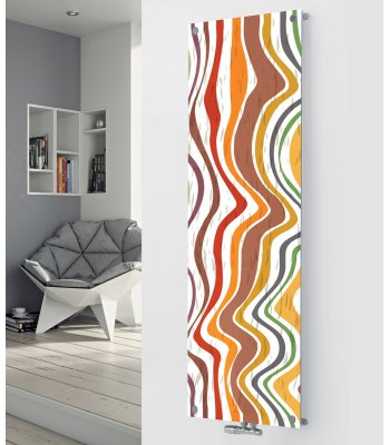 Panio Crystal Glass Picture Designer Radiator P96 Coloured Wavy Lines Image