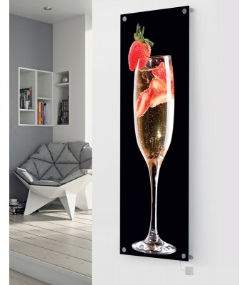Panio Crystal Glass Picture Electric Designer Radiator - P30 Champagne & Strawberries Black Image