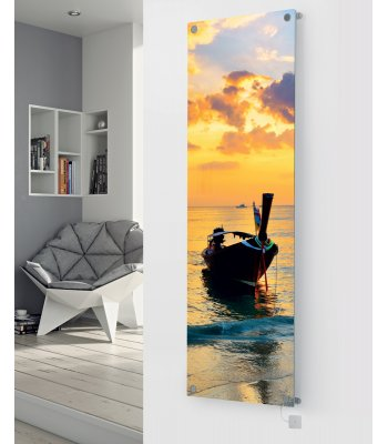 Panio Crystal Glass Picture Electric Designer Radiator - P38 Sunset Boat Image