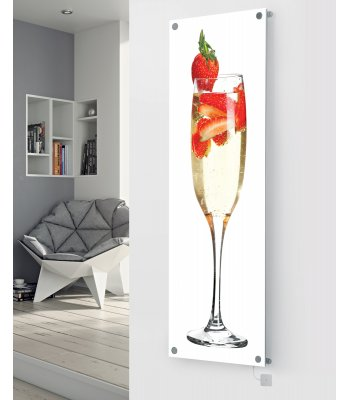 Panio Crystal Glass Picture Electric Designer Radiator - P41 Champagne Strawberry White Image