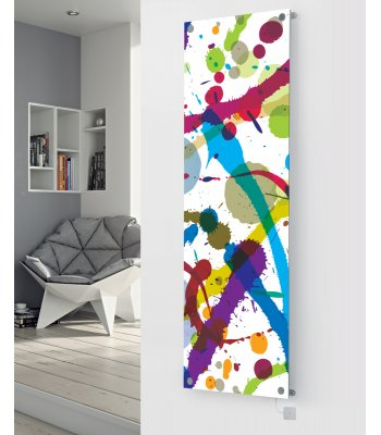 Panio Crystal Glass Picture Electric Designer Radiator - P54 Paint Splash Image