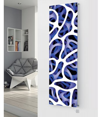 Panio Crystal Glass Picture Electric Designer Radiator - P59 Blue Abstract Image