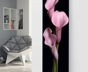 Panio Crystal Glass Picture Electric Designer Radiator - P62 Black Pink Flower Image