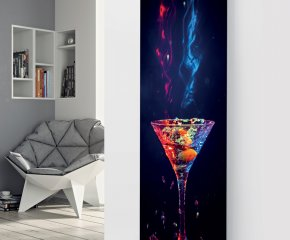 Panio Crystal Glass Picture Electric Designer Radiator - P84 Red and Blue Cocktail Image