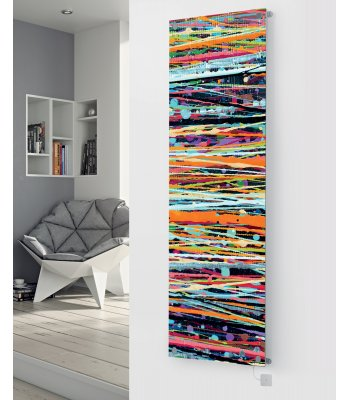 Panio Crystal Glass Picture Electric Designer Radiator - P86 Paint Lines and Spots Pattern Image