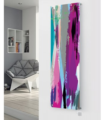 Panio Crystal Glass Picture Electric Designer Radiator - P94 Multi Coloured Paint Image