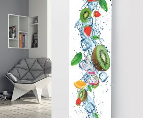 Panio Crystal Glass Pictutre Designer Radiator P136 Kiwi Fruit Splash Image